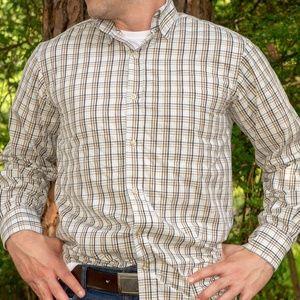 T. Harris London Button Down Shirt (tan/blue)